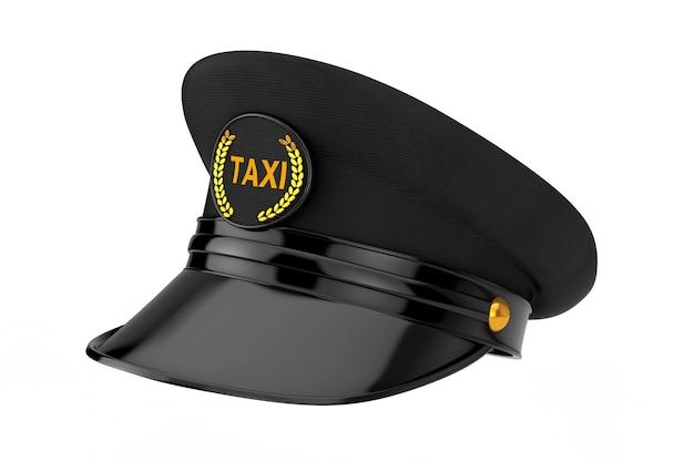 Черная кепка водителя такси с кокардой голдана и знаком такси на белом фоне. 3d рендеринг