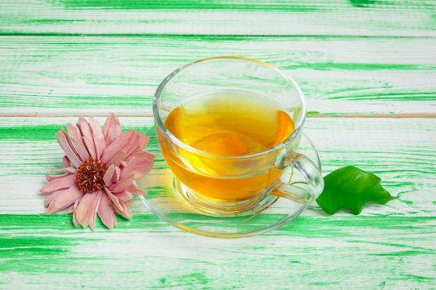 Black tea on green wooden background