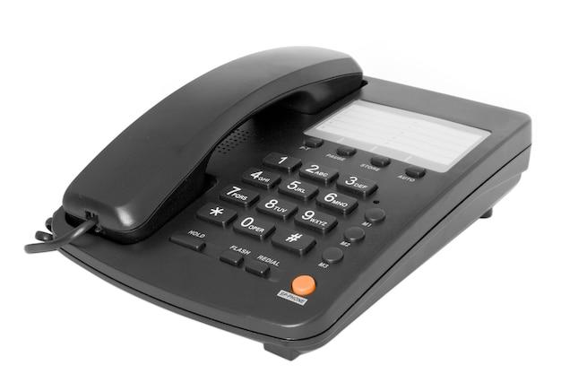反射で白に分離された黒い電話