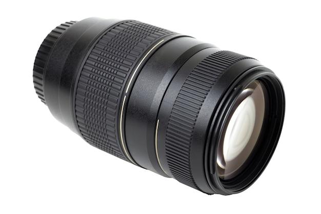 Black telephoto zoom lens isolated.