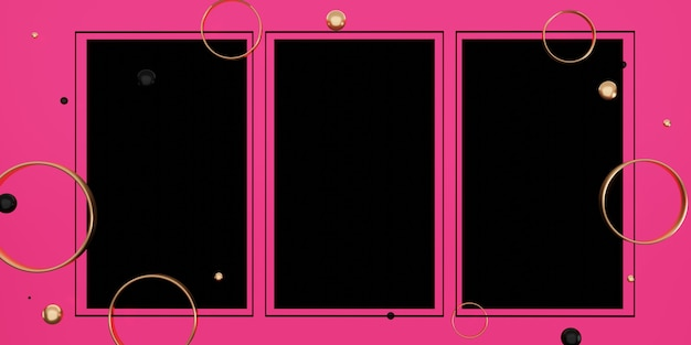 Black text frame on a pink background decorated with beads and rings 3d illustration