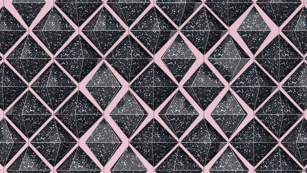 Black textured pyramids. abstract illustration, 3d render.