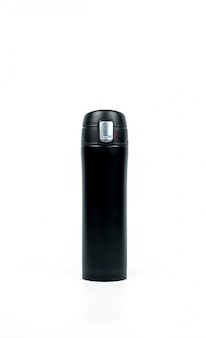 Black thermos bottle on white background with copy space