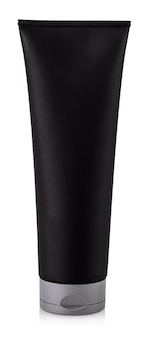 The black tube bottle of shower gel isolated on white background