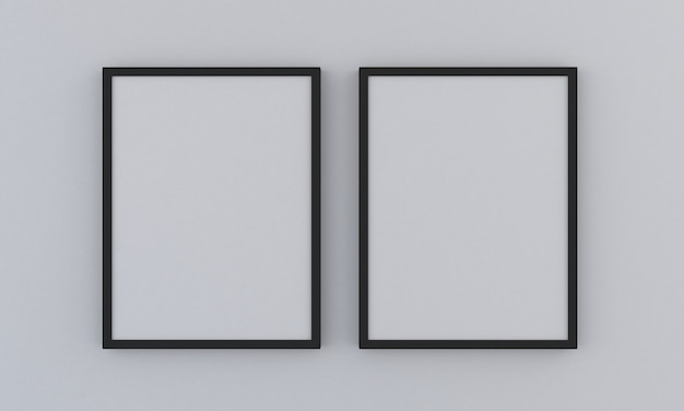 회색 배경에 검은 두 수직 프레임 모형