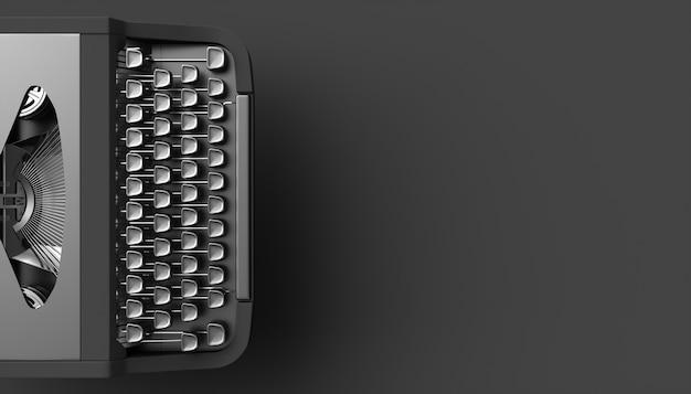 Black typewriter on a black background, 3d illustration