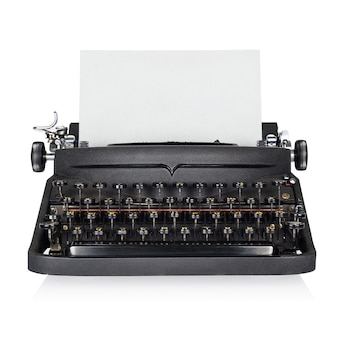 Black typewriter isolated