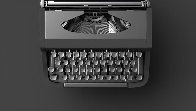 Черная пишущая машинка на черном фоне, 3d иллюстрация