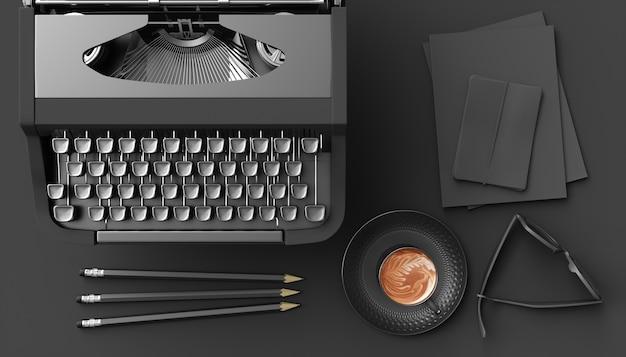 黒の背景に黒のタイプライター、3dイラスト