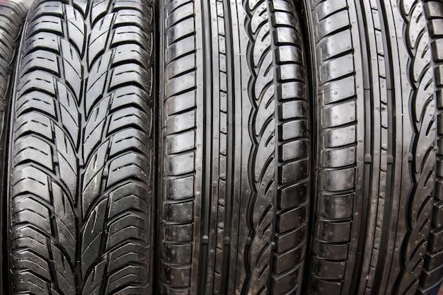 Black tyres in car repair shop
