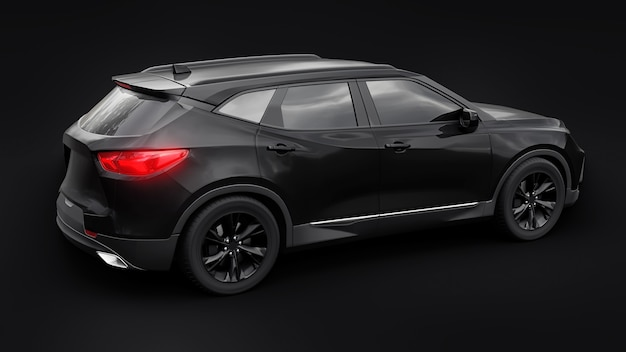 A black ultramodern suv with a catchy expressive design for young people and families on a black iso