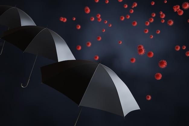 Черный зонт с covid-19. 3d иллюстрации