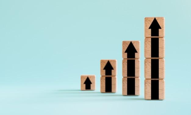 3d 렌더링 기술을 통해 비즈니스 및 이익 성장 개념을 위한 목재 큐브 블록의 위쪽 화살표 인쇄 화면을 검게 만듭니다.