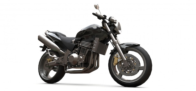 Black urban sport two-seater motorcycle. 3d rendering.