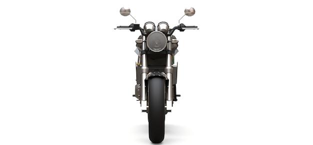 흰색 바탕에 검은 도시 스포츠 2 인승 오토바이. 3d 그림.