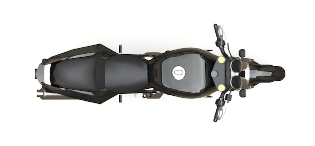 Black urban sport two-seater motorcycle on a white background. 3d illustration.