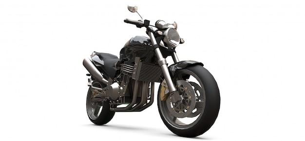 Black urban sport two-seater motorcycle