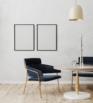 Black vertical poster frame mock up in dinning room modern interior with luxury dark blue chairs