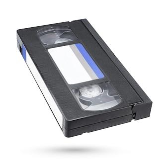 白い背景で隔離の黒いvhsビデオテープカセット
