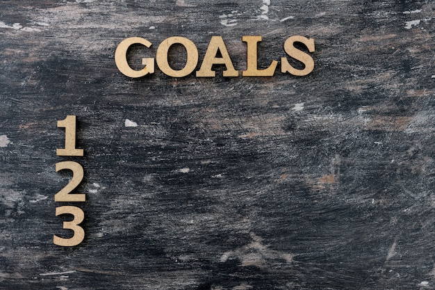 Черный старинный фон, слово цели и цифры