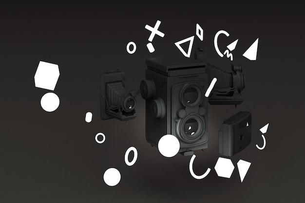 검정색 배경에 멤피스 패턴 빛으로 둘러싼 블랙 빈티지 카메라.