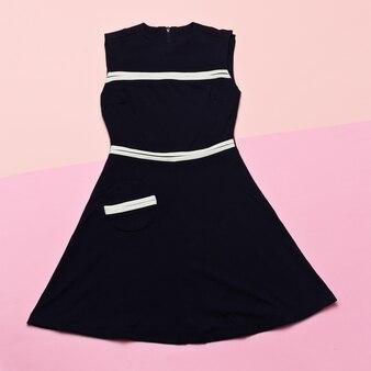 Black vintage dress. retro glam top view