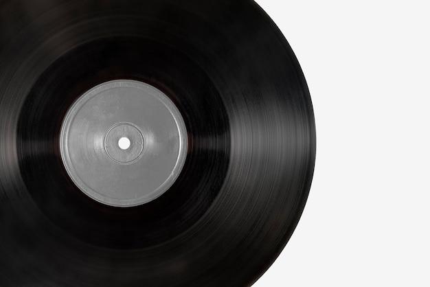 회색 배경에 검정 비닐 레코드 모형
