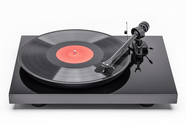 Черная виниловая пластинка. виниловый проигрыватель для виниловых дисков.