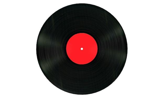 白い背景に白い空白のラベルが付いた黒いビニールレコード。 3dレンダリング