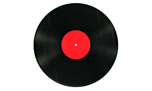 Black vinyl record with white blank label on a white background. 3d rendering
