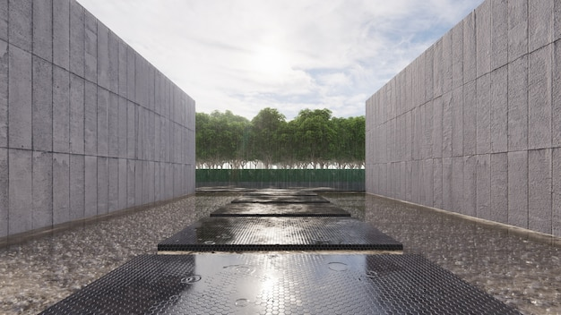 Black walk way float on the pond has wall concrete beside  and raining time Premium Photo