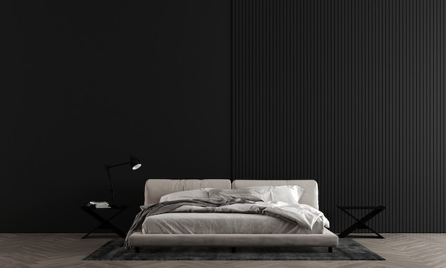 Black wall bedroom have modern bed and decoration,mock up interior,3d rendering