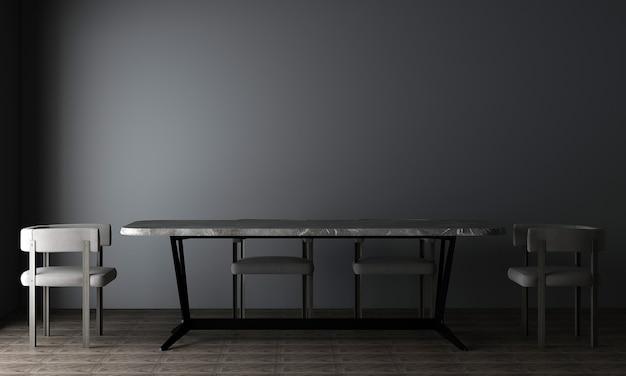 В столовой с черной стеной есть стол, стулья и украшения, макет интерьера, 3d-рендеринг