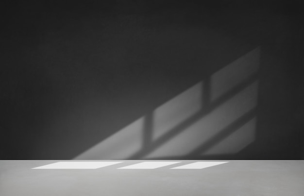 Black wall in an empty room with concrete floor