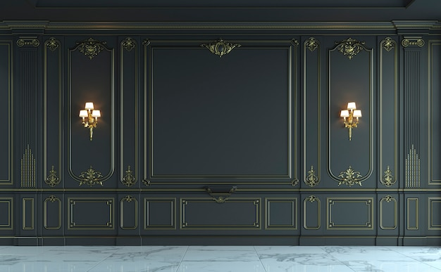 Black wall panels in classical style with gilding. 3d rendering