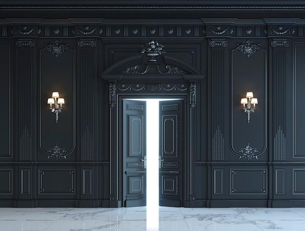 Черные стеновые панели в классическом стиле с серебрением. 3d-рендеринг