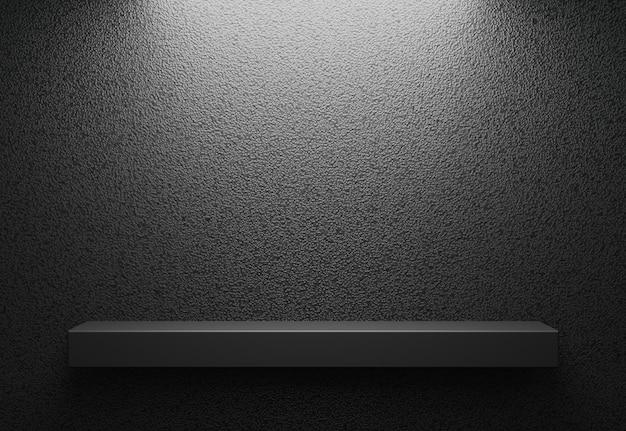 제품 디스플레이용 스탠드가 있는 검은색 벽