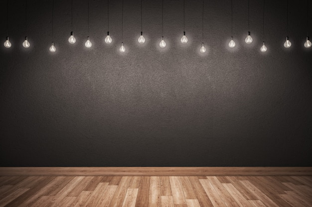 Black wall and wooden floor with lighting