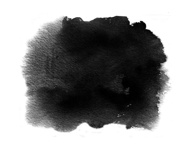 Black watercolor swatch of black water color paint with washes and brush stroke