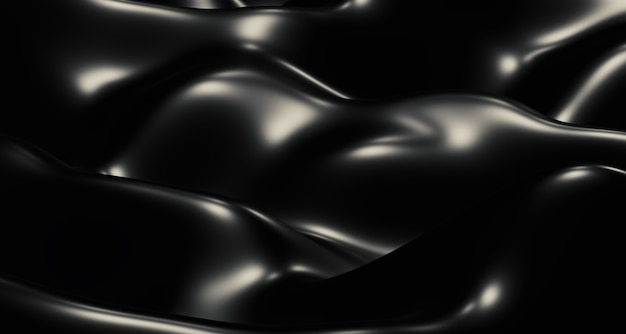 Black waves, streaks of light, and shiny surfaces. abstract shapes
