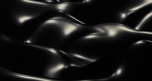 黒い波、光の筋、そして光沢のある表面。抽象的な形