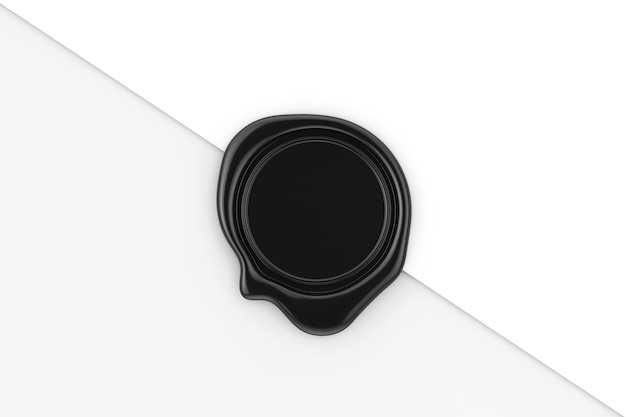 Black wax seal with blank space for your design on a white paper background. 3d rendering