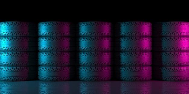 Черные колеса на черном фоне в неоновом освещении на 3d иллюстрации
