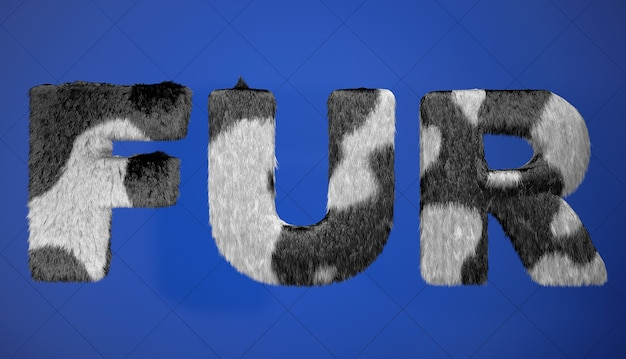 Black and whine fur sign on a blue background