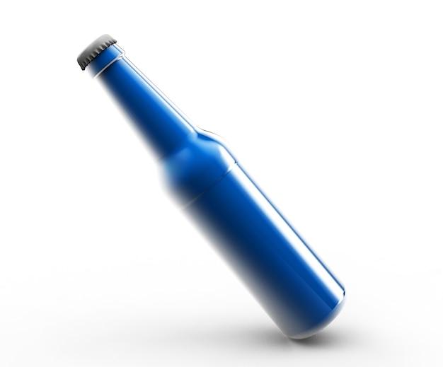 흰색 배경 3d 렌더링에 격리된 블랙 위스키, 코냑, 브랜디 병