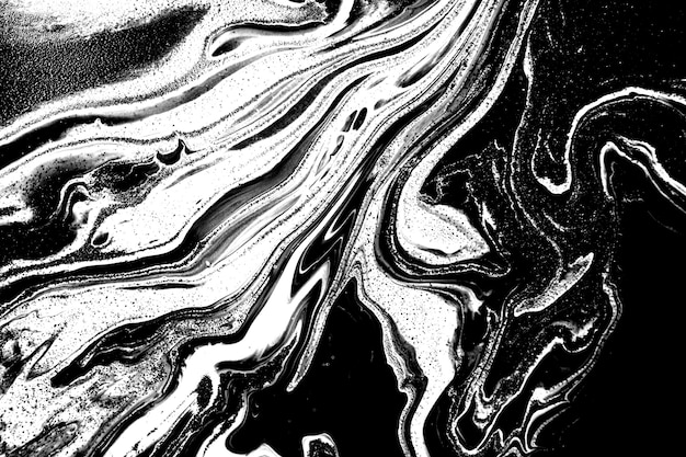 Black and white abstract marble acrylic background