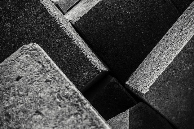 Black and white abstract of stone square.