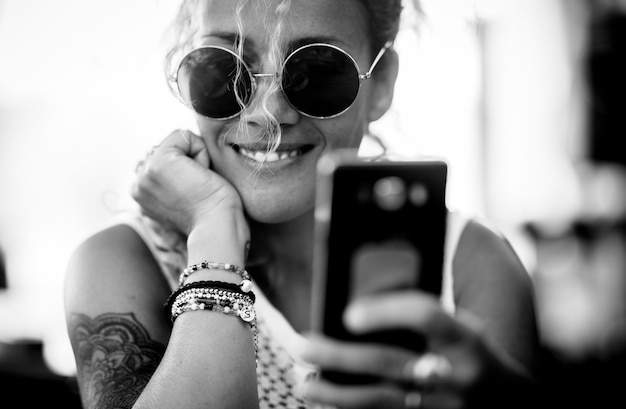 Black and white beautiful adult caucasian alernative trendy woman portrait
