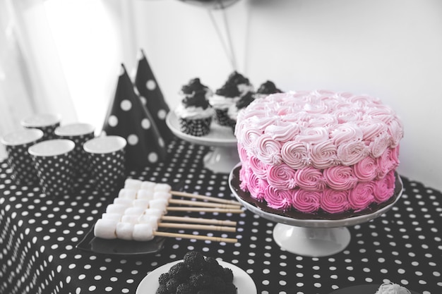 Black and white birthday party decoration