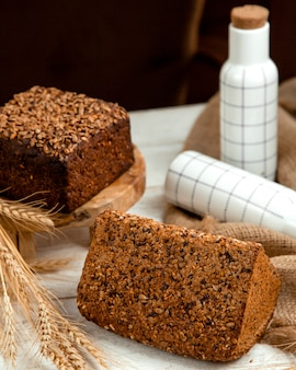 Black and white bread with sesame